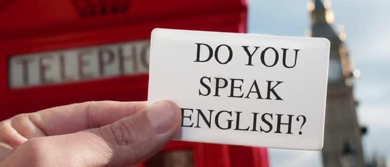 Card with the inscription do you speak english