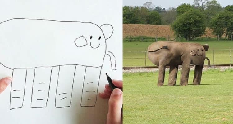 Рисует статую слона